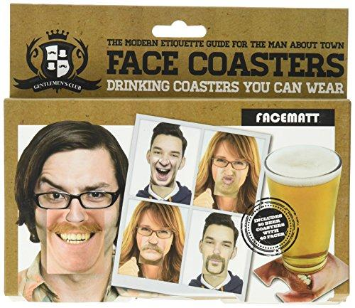 Gentlemans Club Face Drink Coasters - 20 Hilarious Double Sided Drink Coasters (40 Fun Faces) - zingydecor