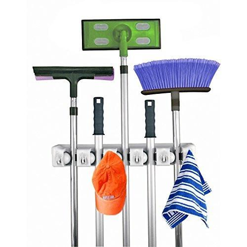 Home- It Mop and Broom Holder, 5 position with 6 hooks garage storage Holds up to 11 Tools, storage solutions for broom holders, garage storage systems broom organizer for garage shelving ideas - zingydecor