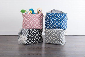 DII Printed Polyester, Collapsible and Convenient Storage Bin To Organize Office, Bedroom, Closet, Kid's Toys, & Laundry - Large Rectangle Lattice - zingydecor