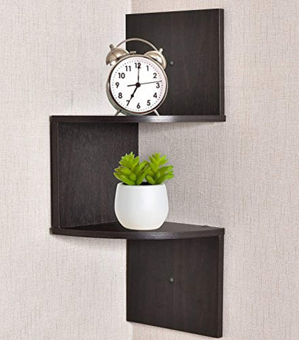 Image of Greenco Zigzag 2 Tier Corner Floating Shelves, Espresso.