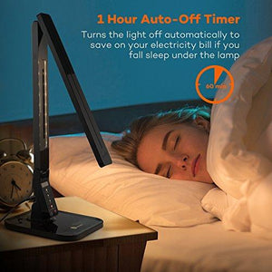 TaoTronics 14W LED Desk Lamp with USB Charging Port, Touch Control, 4 Lighting Mode with 5 Brightness Levels, Timer, Memory Function Black - zingydecor