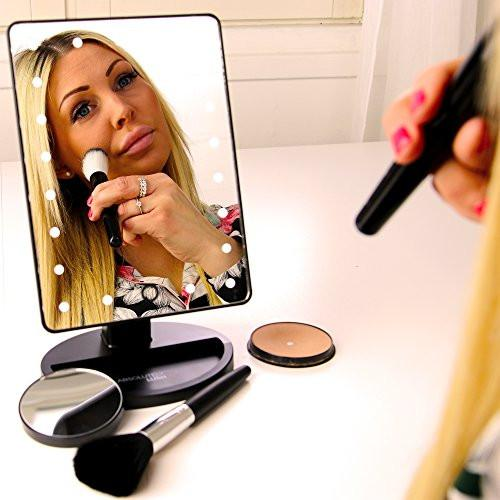 Natural Daylight Lighted Makeup Mirror / Vanity Mirror with Touch Screen Dimming, Detachable 10X Magnification Spot Mirror, Portable Convenience and High Definition Clarity Cosmetic Mirror