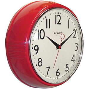 Westclox 32042R Retro 1950 Kitchen Wall Clock, 9.5-Inch, Red - zingydecor