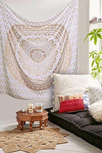 Load image into Gallery viewer, Tapestry Gold Ombra by Craft N Craft India Mandala Tapestry, Queen Indian Mandala Wall Art Hippie Wall Hanging Bohemian Bedspread (Queen ( 210 x 230 Cm)) - zingydecor
