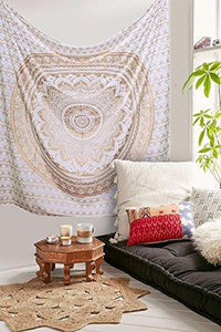 Tapestry Gold Ombra by Craft N Craft India Mandala Tapestry, Queen Indian Mandala Wall Art Hippie Wall Hanging Bohemian Bedspread (Queen ( 210 x 230 Cm)) - zingydecor