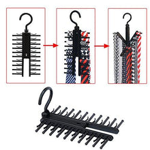 Load image into Gallery viewer, 2 pcs Cross X Hangers, IPOW Black Tie Belt Rack Organizer Hanger Non-Slip Clips Holder With 360 Degree Rotation, Securely up to 20 Ties - zingydecor