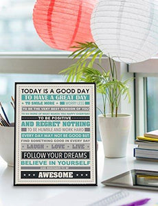 Be Awesome Inspirational Motivational Happiness Quotes Decorative Poster Print, 12x36 Unframed - zingydecor