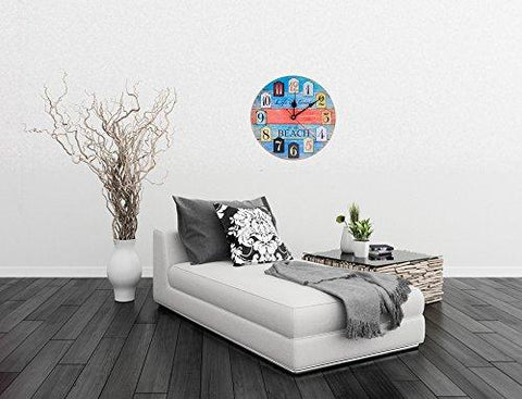 Image of Wall Clock Decorative Silent Wall Clock Non Ticking Ocean Theme White Wall Clocks 12-Inch for Bedroom Living Room Bathroom Decorations (Lighthouse)
