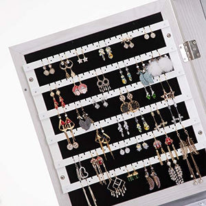 360 Rotating Lockable Full Mirror Jewelry Organizer Wall Mounted/Door Mounted Jewelry Box For Women/Jewelry Cabinet Jewelry Armoire With Mirror/Full Length Mirror White
