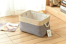 Load image into Gallery viewer, TheWarmHome Decorative Collapsible Rectangular Fabric Storage Bin Organizer Basket with Handles for Clothes Storage,Toy Organizer,Pet Toy Storing,Kids Basket Baby Bin,Grey - zingydecor