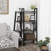 Load image into Gallery viewer, Industrial Ladder Shelf, 4-Tier Bookshelf, Storage Rack Shelves, Bathroom, Living Room, Wood Look Accent Furniture, Metal Frame, Rustic Brown