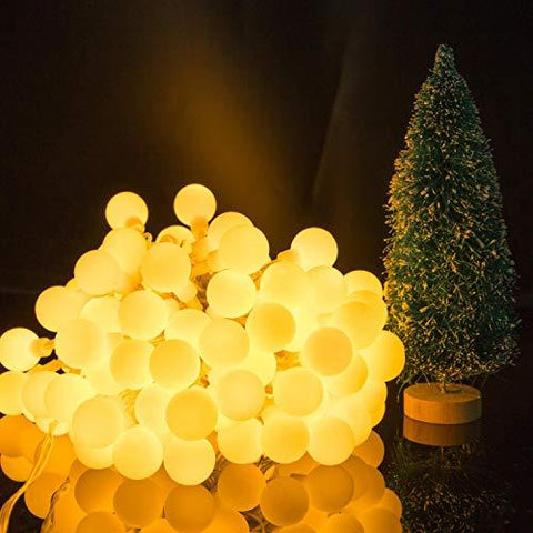 Image of 33 FT 100 LED Globe Ball String Lights, Fairy String Lights Plug in, 8 Modes with Remote, Decor for Indoor Outdoor Party Wedding Christmas Tree Garden, Warm White
