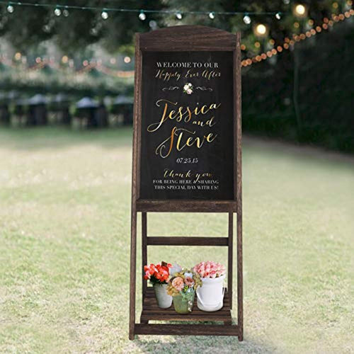 RHF Wedding Chalkboard Signs,Rustic Wedding Decorations,A-frame Easel Chalkboard Sign with Display Shelf,Vintage Large Chalkboard Easel, Freestanding Easel Message Board (44 Inch,Natural), 1 Set - zingydecor