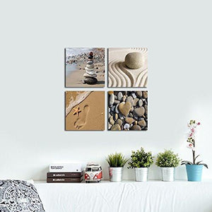 Wieco Art - Romantic Beach Theme 4 Piece Modern Giclee Artwork Sea Beach Ocean Canvas Prints Contemporary Abstract Seascape Pictures Paintings on Canvas Wall Art for Bedroom Home Decorations - zingydecor