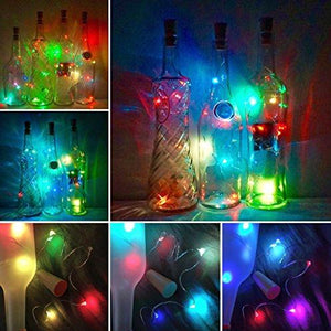 LoveNite Wine Bottle Lights with Cork, Warm White 10 Pack Battery Operated LED Cork Shape Silver Copper Wire Colorful Fairy Mini String Lights for DIY, Party, Decor, Christmas, Halloween,Wedding - zingydecor