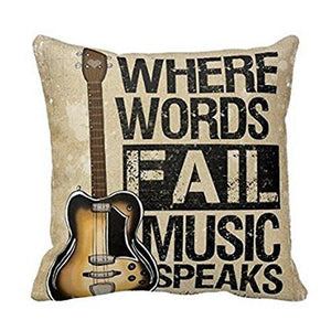 Where Words Fall Music Speaks Quote Throw Pillow Case Vintage Cushion Cover Guitar Pillowcase 18x18 Twin Sides by Piillow