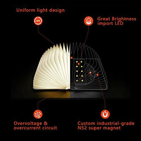 Image of Wooden Folding Book Light, Magicfly USB Rechargable Book Shaped Light 4 Colors Led Desk Table Lamp for Decor, Magnetic Design- Creative gift for Christmas