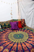 Load image into Gallery viewer, Marubhumi Indian Traditional Hippie Cotton Tapestry, Rainbow Boho Hippie Beach Coverlet Curtain, Wall Hanging,Bohemian Wall Hanging, 92 x 82 Inches (Rainbow) - zingydecor