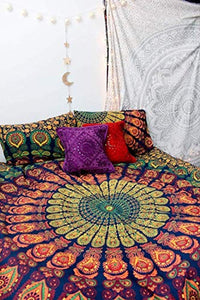 Marubhumi Indian Traditional Hippie Cotton Tapestry, Rainbow Boho Hippie Beach Coverlet Curtain, Wall Hanging,Bohemian Wall Hanging, 92 x 82 Inches (Rainbow) - zingydecor