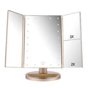 Lighted Vanity Mirror with 21 LED Lights, Touch Screen and 3X/2X/1X Magnification, Two power Supply Mode make up mirror,travel Mirror (Black)