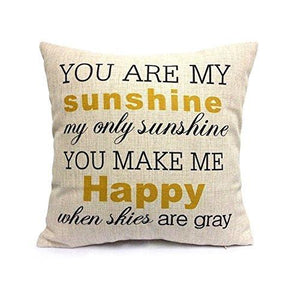 "SIXSTARS 18"" x 18"" Square Throw Pillow Case You Are My Sunshine"
