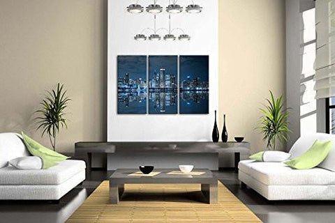 Image of Blue Cool Buildings In Dark Color In Chicago Wall Art Painting The Picture Print On Canvas City Pictures For Home Decor Decoration Gift