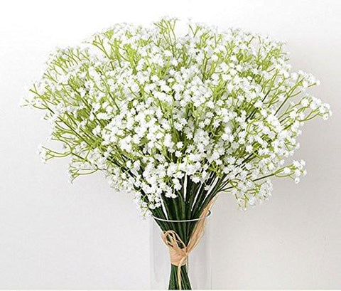 10Pcs Baby Breath/Gypsophila Artificial Fake Silk Plants Wedding Party Decoration Real Touch Flowers DIY Home Garden (White)
