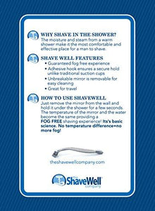 Deluxe Shave Well Fog-free Shower Mirror - Made in the USA - 33% larger than the Original... - zingydecor