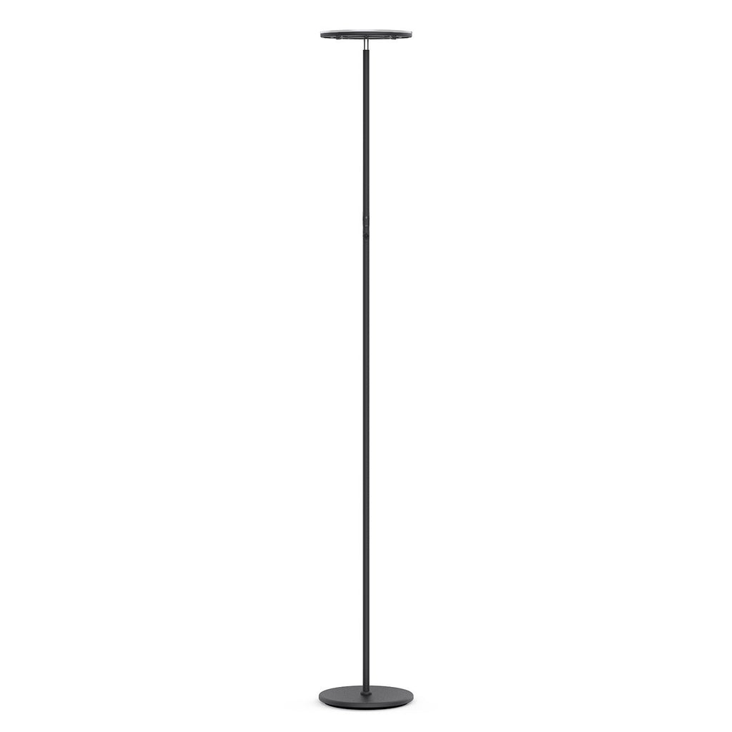Vacnite LED Torchiere Floor Lamp, Smart-Touch-Dimming, 71-Inch,36-Watt,Super Bright Warm White for Bedroom Living Room Office - Simple Streamlining Black