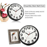 DreamSky 13 Inch Large Wall Clock , Non-Ticking Silent Quartz Decorative Clocks , Battery Operated, Round Retro Indoor Outdoor Kitchen Bedroom Living Room Wall Clocks , Big 3D Number Display.