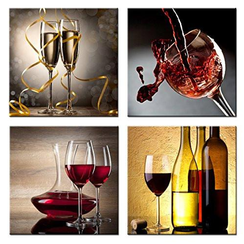 Home Art Contemporary Art Red Wine Giclee Canvas Prints Framed Canvas Wall Art for Home Decor Perfect 4 Panels Wall Decorations for Living Room Dinning-room Office Each Panel Size:12x12inch - zingydecor
