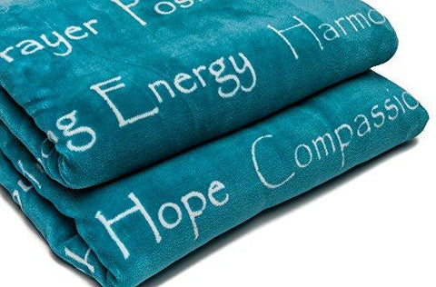 "Image of Chanasya Super Soft Ultra Plush Healing Thoughts Warm Hugs Posivite Energy Comfort Caring Gift Teal Microfiber Throw Blanket ( 50"" x 65"" )- Teal Blue and White Gift Blanket"