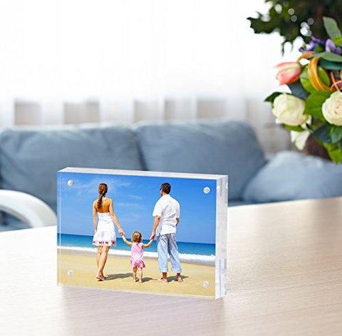 Image of Acrylic Photo Frame 4x6 Gift Box Package, Clear Free Standing Desktop Double Sided Magnetic Picture Display