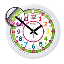 Load image into Gallery viewer, EasyRead Time Teacher Children's Wall Clock, 12 & 24 Hour with silent movement. Learn to tell the time in 2 simple steps, for children age 5-12. - zingydecor