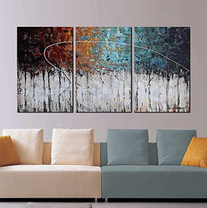 "ARTLAND Hand-Painted ""Color Forest"" 3-Piece Gallery-Wrapped Abstract Oil Painting On Canvas Wall Art Decor Home Decoration 24x48 inches - zingydecor"