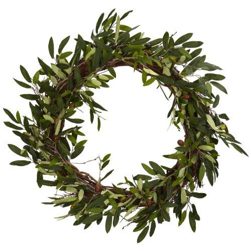 Nearly Natural 4773 Olive Wreath, 20-Inch, Green - zingydecor
