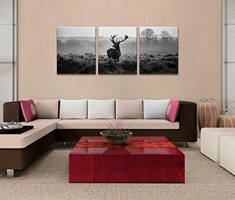 Image of Canvas Prints, Black and white deer Wall Art oil Paintings Printed Pictures Stretched for Home DecorationHS30X40-3 - zingydecor