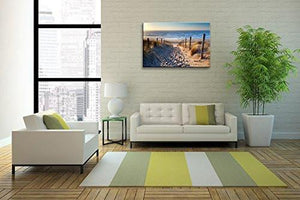 Footprints beach Wall Art oil Paintings Printed Pictures Stretched for Home Decoration - zingydecor