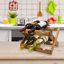Load image into Gallery viewer, Sorbus Bamboo Foldable Countertop Wine Rack 6-bottles (Bamboo) - zingydecor