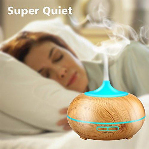 Image of Aromatherapy Essential Oil Diffuser, URPOWER 300ml Wood Grain Ultrasonic Cool Mist Whisper-Quiet...