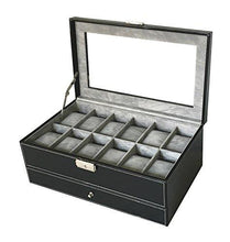 Load image into Gallery viewer, Sodynee PU Leather Glass Top Watch Box with Jewelry tray - Black - zingydecor