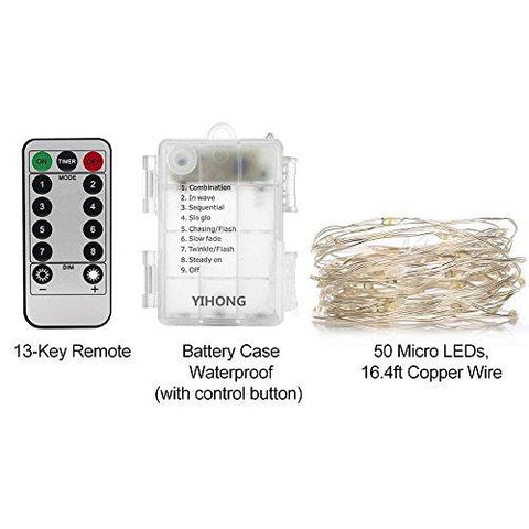 Image of YIHONG 4 Set Fairy String Lights Waterproof 8 Modes Fairy Lights Twinkling 16.4FT 50 LED String Lights with Remote Control for Bedroom Wedding Halloween Thanks Giving Christmas Decor (Daylight White)