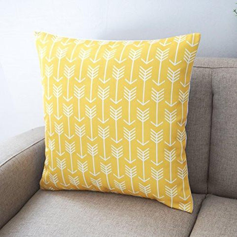 Image of Howarmer Canvas Cotton Throw Pillows Cover for Couch Set of 4 Lemon Yellow Accent Pattern 18 X 18-inch