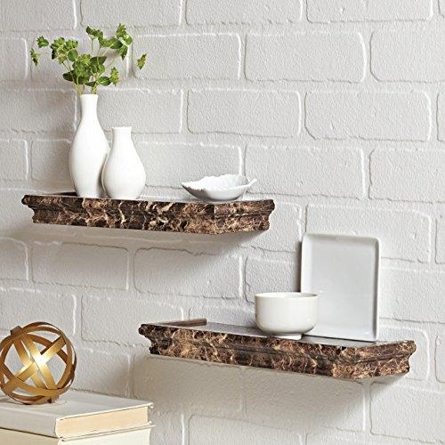 Better Homes and Gardens Floating Shelves Set - Two 14-inch Picture Ledges - Small and Lightweight - Spruce Up Any Room with Elegant Wall Decor - Easy to Install - Brown Marble Finish - zingydecor