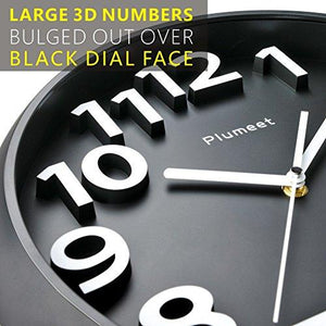 "Large Number Wall Clock, Plumeet 13"" Silent Wall Clock with Large Numbers and Non-ticking Digital, Modern Style Good for Living Room & Home & Office Battery Operated (Black)"