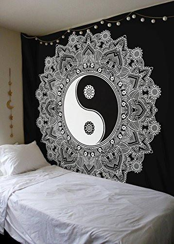 Black And White Tapestry, YinYang Wall Hanging Tapestry, Mandala Tapestries, Indian Traditional Cotton Printed Bohemian Hippie Large Wall Art by SheetKart - zingydecor