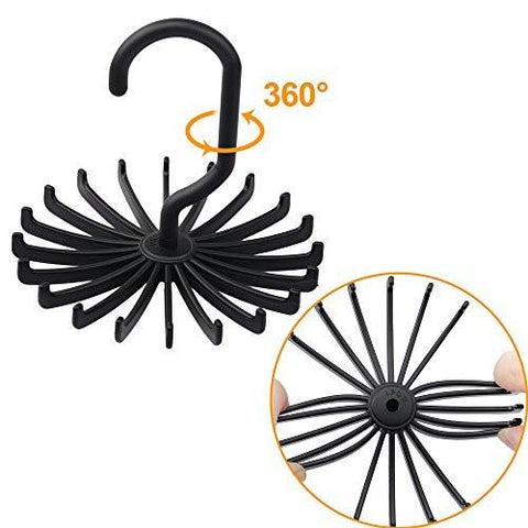 Image of 2 Pack IPOW Updated Twirl Tie Rack Belt Hanger Holder Hook for Closet Organizer Storage - zingydecor