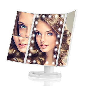 Makeup Mirror, Butyface Vanity Mirror with Lights, Touch Screen 21 LED Lighted Makeup Mirror with 1X/2X/3X and Removable 10X Magnification - zingydecor