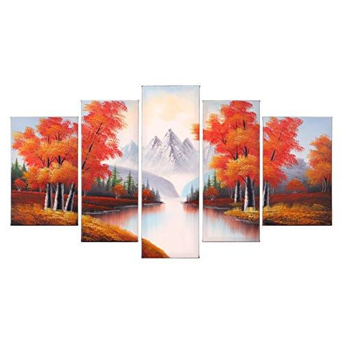 Hand Painted Modern Abtract Framed Canvas Wall Art Oil Paintings Maple Trees Forest River Mountain Ready to Hang for Living Room Wall Decor - zingydecor