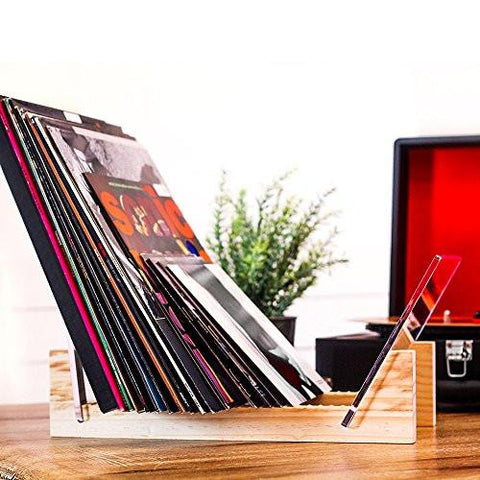 Vinyl Record Storage - Solid Wood with Crystal Clear Acrylic Holder ...